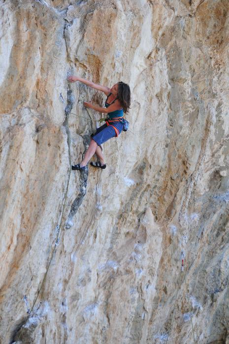 A climber on 'Lucky Luka' (7b)