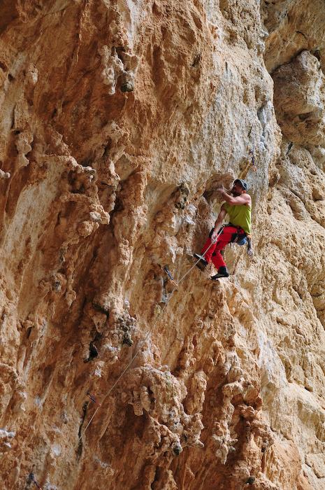 A climber at 'Lolita' (7a)
